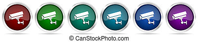 Cctv camera icons, set of silver metallic glossy web buttons in 6 color options isolated on white background