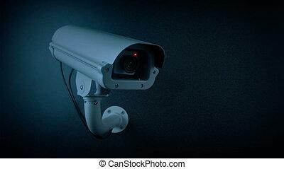 CCTV Camera In Evening Flashing Light Loop - CCTV camera on...
