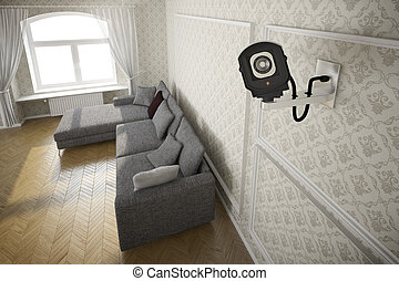 cctv camera in livingroom - Living room with cctv camera and...
