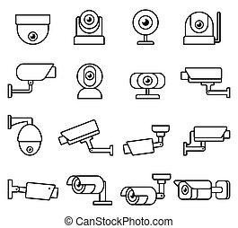 cctv camera line icons set.