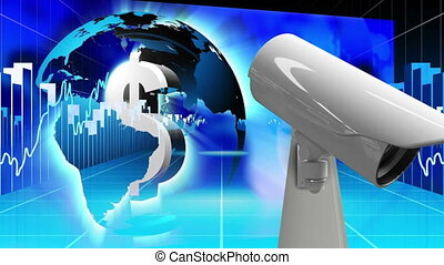 CCTV camera moving against dollar sign inside globe spinning and data processing