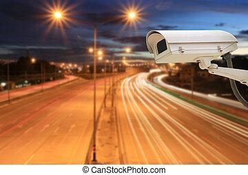 CCTV Camera on highway roads in twilight sky background.