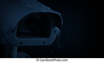 CCTV Camera On Rainy Night With Flashing Alarm Lights