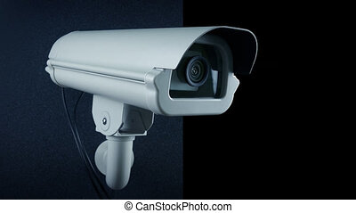 CCTV camera mounted on wall, pre-keyed with alpha channel to add your own photos or video to