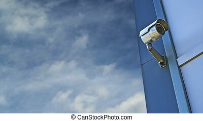 CCTV camera. Security camera on the wall. Private property...