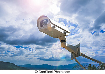 CCTV camera security outdoor on the sky.