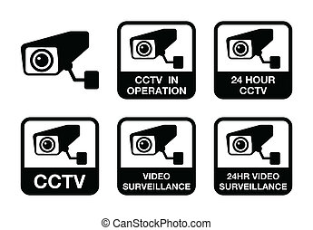 CCTV camera, Video surveillance ico - CCTV camera warning...