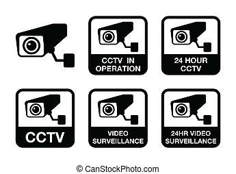 CCTV camera, Video surveillance ico - CCTV camera warning ...