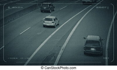CCTV Cars And Trucks On Freeway - CCTV view of vehicles...
