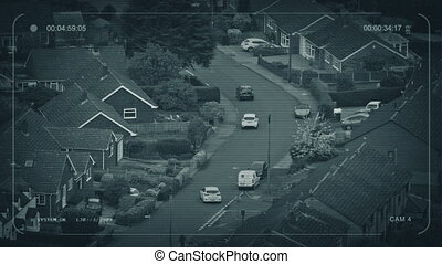 CCTV Cars Drive Through Suburban Area - CCTV view of cars...