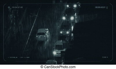 CCTV Cars In Heavy Rain In The City - Cars passing on city...