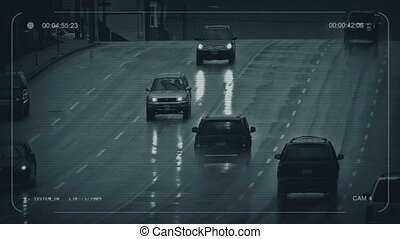 CCTV Cars On Rainy Day In City - CCTV view of cars on...