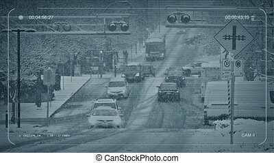 CCTV City Intersection In Snow Storm - CCTV view of busy...