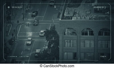 CCTV City Intersection In The Evening - CCTV camera view of...