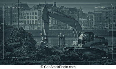 CCTV Digger Working In City - CCTV view of a digger at work...