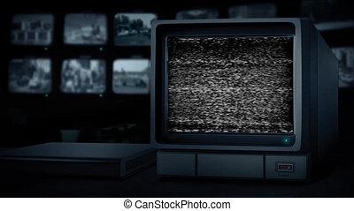 CCTV Empty Monitor Loop - Pre-Keyed Alpha Channel - CCTV...