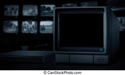 CCTV Empty Monitor - Pre-Keyed Alpha Channel - CCTV monitor...