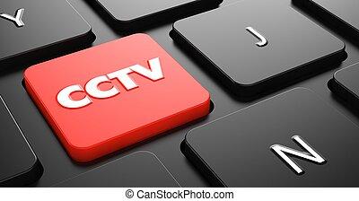 cctv, en, rojo, teclado, button.