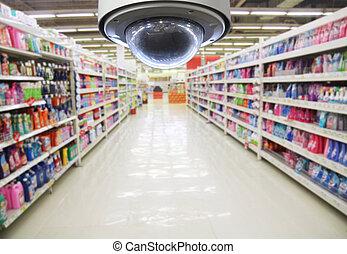 cctv, en, vaag, supermarkt