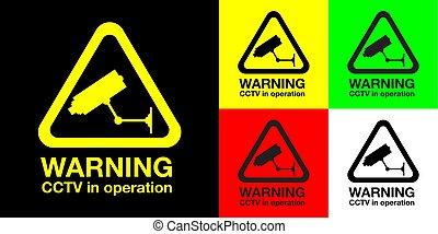 cctv, ensemble, panneau avertissement