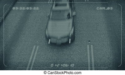 CCTV Feed Looking Down On Traffic - High angle view of the...