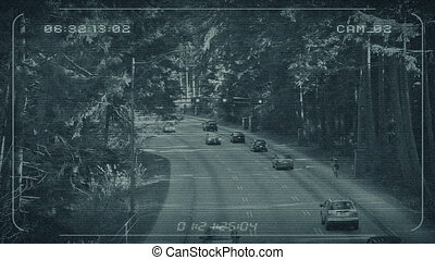 CCTV Feed Of Highway Through Forest - CCTV view of road...