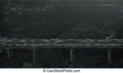 CCTV Feed Of Traffic On Highway Bridge