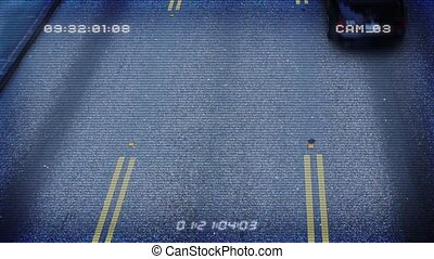 CCTV From Above Busy Road - Overhead shot of cars passing...