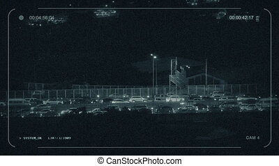 CCTV Highway Lit Up With Many Cars - CCTV view of heavy...