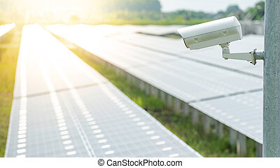 cctv kamera, aflytning, ind, sol magt plant