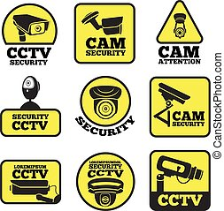 CCTV labels. Vector illustrations with security cameras symbols