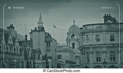 CCTV London Skyline With Flag Blowing - CCTV view of typical...