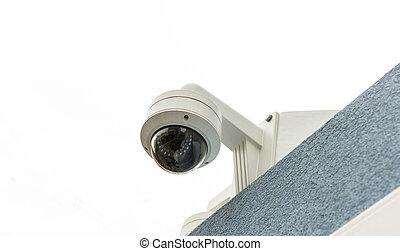 cctv, macchina fotografica sorveglianza, closeup, tetto, sicurezza, vista