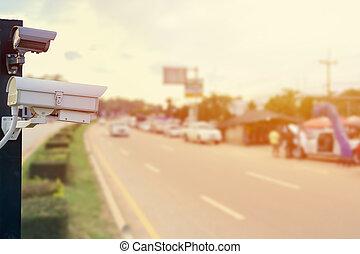 cctv, macchina fotografica sorveglianza, closeup, traffico, sicurezza, strada