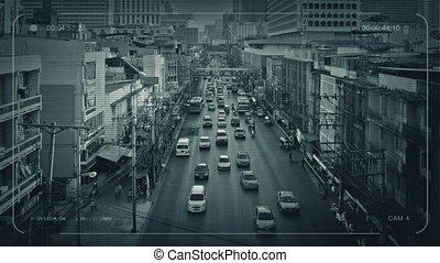 CCTV Main Road Through City In Developing Country - CCTV...