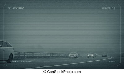 CCTV Misty Highway With Cars Passing