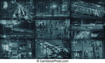 CCTV Monitors Display With City Scenes - CCTV screens in...