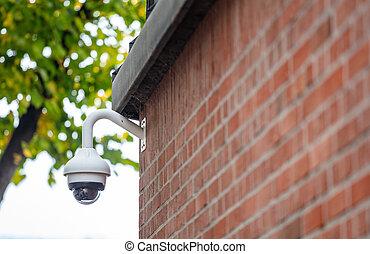 cctv, parete, macchina fotografica sorveglianza, closeup, sicurezza, mattone, vista