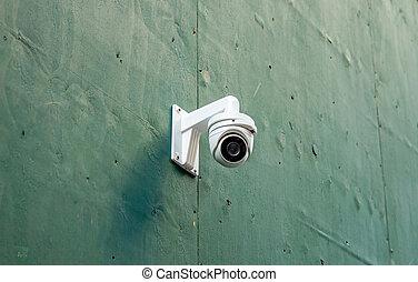 cctv, parete, macchina fotografica sorveglianza, closeup, sicurezza, vista