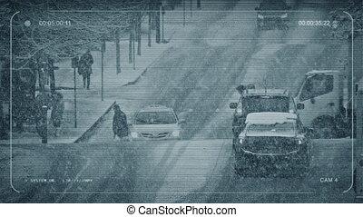 CCTV People Crossing Busy Road In Snowstorm