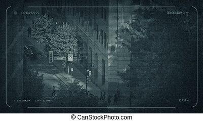 CCTV People Crossing Road Downtown - CCTV view of people on...