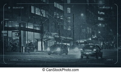 CCTV People Crossing Road In Snowstorm