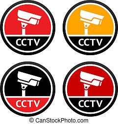 CCTV pictogram, set sign security camera