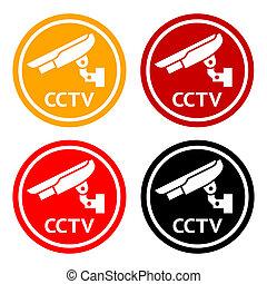CCTV pictogram, set symbol security camera - Warning Sticker...