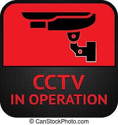 CCTV pictogram, symbol security camera - Warning Sticker for...