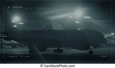 CCTV Planes In International Airport At Night - 747 ...
