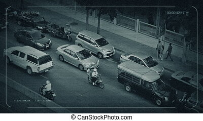 CCTV Road In Asia With People Walking Past - CCTV view of...