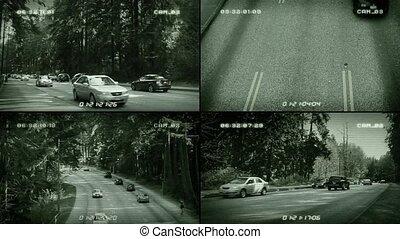 CCTV Roads Splitscreen - CCTV screens showing traffic at...