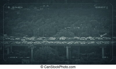 CCTV Rush Hour Road Outside City - CCTV view of busy highway...