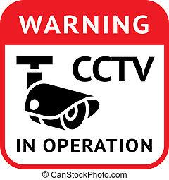 cctv, símbolo advertindo